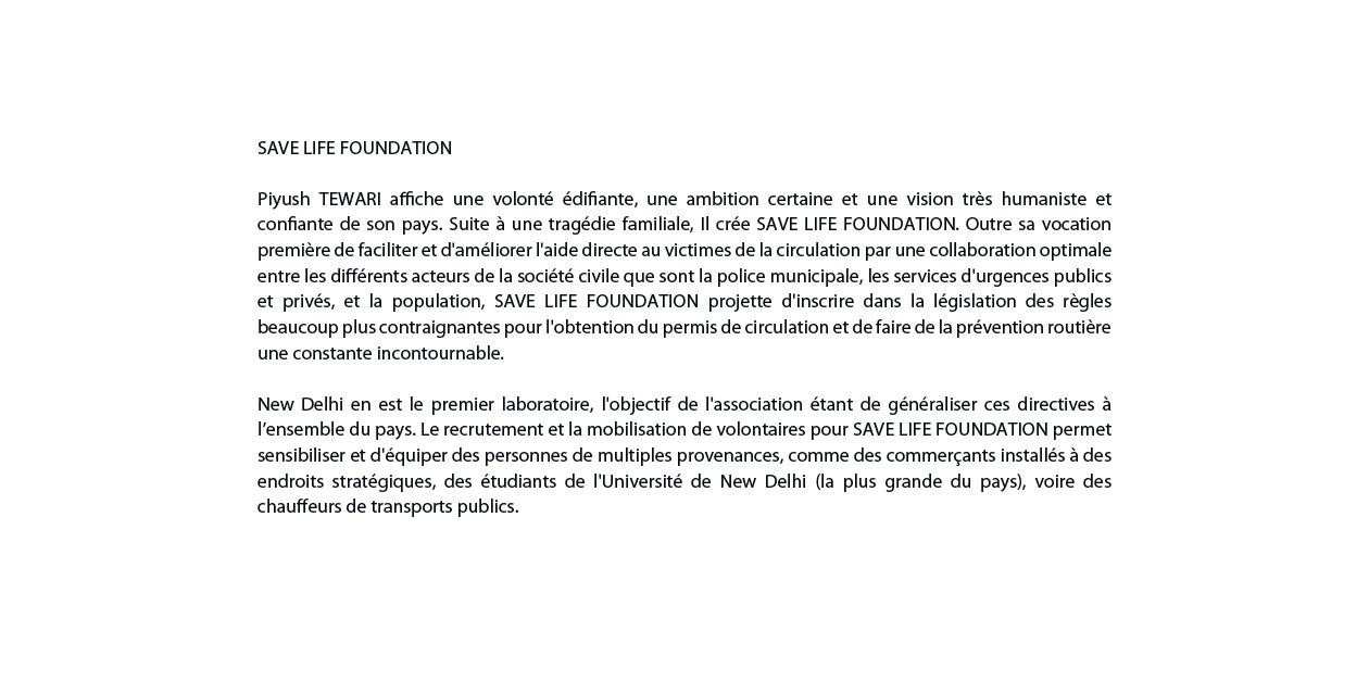 ROLEX AWARDS / SAVE LIFE FOUNDATION